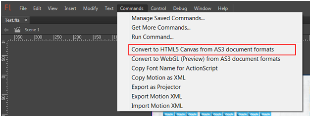 AS3 document to HTML5 content in Adobe Flash Professional CC 2014