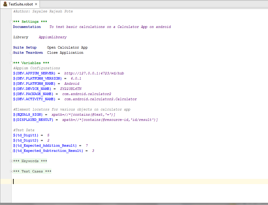 Fig 4: Settings and Variables section of test suite