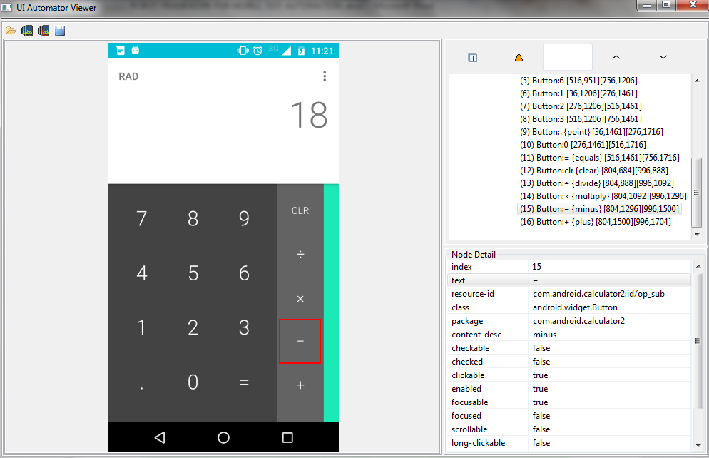 Fig 6: UIAutomator screenshot for Calculator App for Android