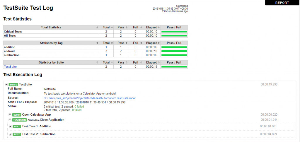 Fig 8: Log of the execution of Test Suite for Calculator App